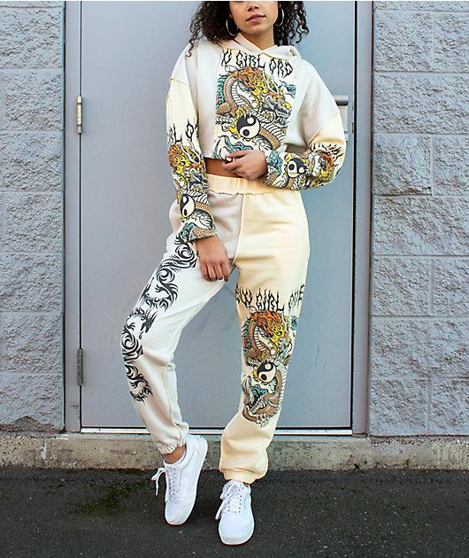 NGOrder Yin Yang Dragon Panel Yellow & Beige Sweatpants
