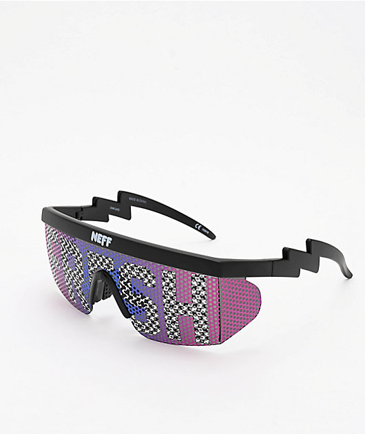 Neff Unisex Daily Lens Print Shades Sunglasses Slime Checkers Green Sun Prote...
