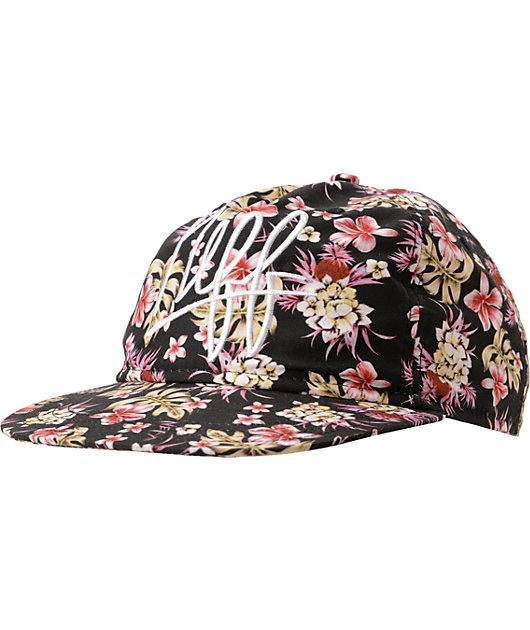 Neff Vacay Black Floral Print Snapback Hat