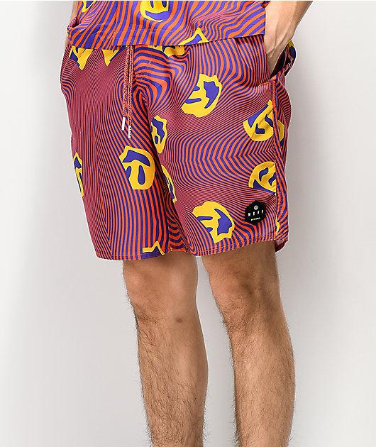 Neff Warped shorts de baño en rojo