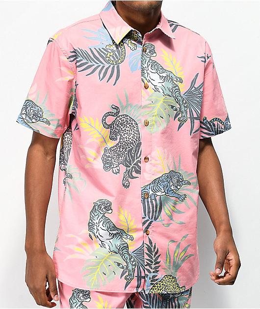 Neff Wild Catz Pink Short Sleeve Button Up Shirt