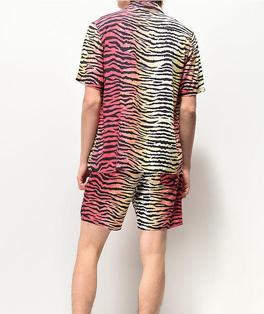 Neff shorts de baño de rayas de tigre multicolor