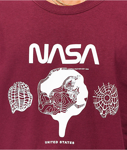 Neon Riot x NASA Weather Map Maroon T-Shirt