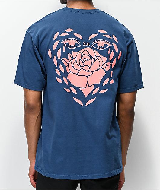 Never Made Rose Heart camiseta azul