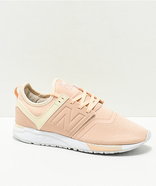 rigidez Instalar en pc Mezclado  New Balance Lifestyle 247 Pink & Cream Textile Shoes | Zumiez