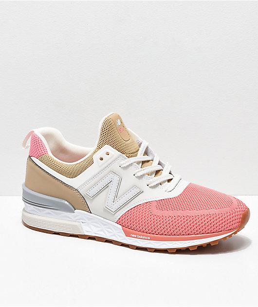 New Balance Lifestyle 574 Sport Hemp zapatos marrones y rosas