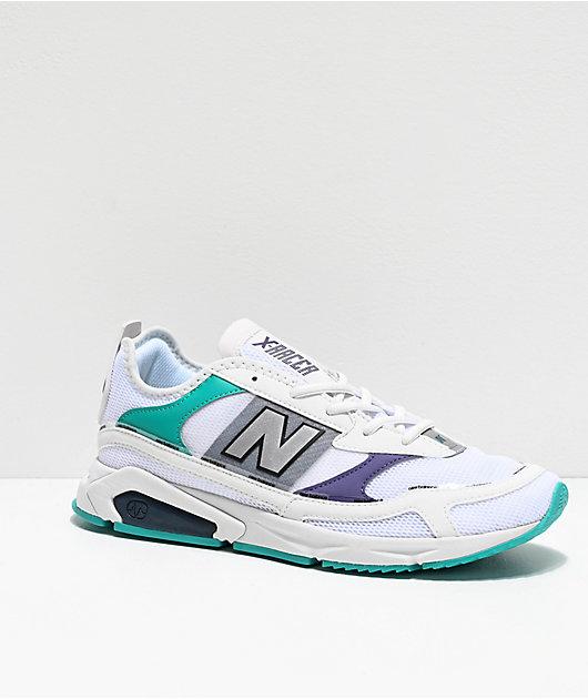 New Balance Lifestyle X-Racer zapatos blancos, violetas y verdes