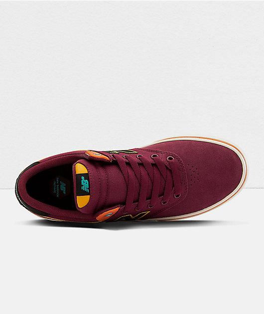 New Balance Numeric 255 Burgundy & Yellow Skate Shoes