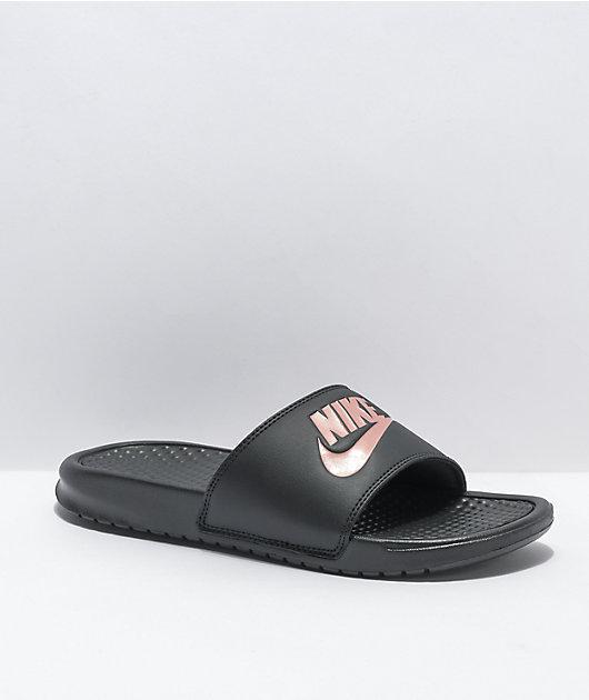 Nike Benassi Black & Rose Gold Slide Sandals