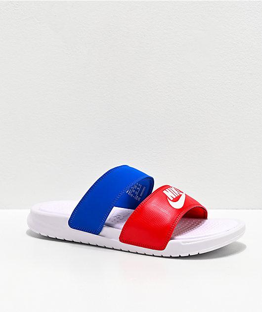 Nike Benassi Duo Ultra Red & Blue Slide Sandals