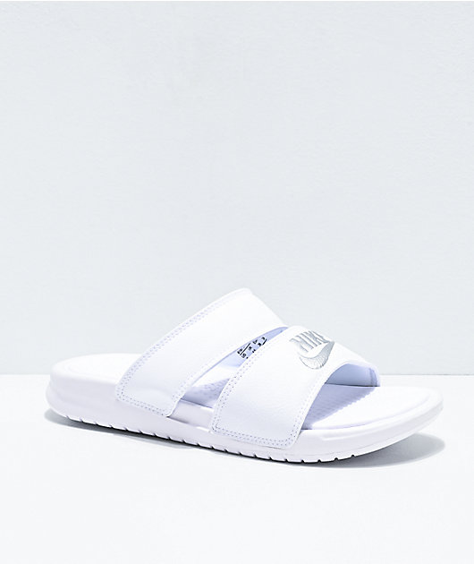 Nike Benassi Duo White Slide Sandals