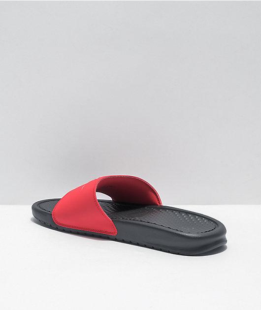 Nike Benassi JDI Black, White & University Red Slide Sandals