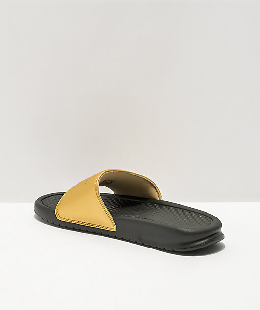Nike Benassi JDI Black & Gold Slide Sandals