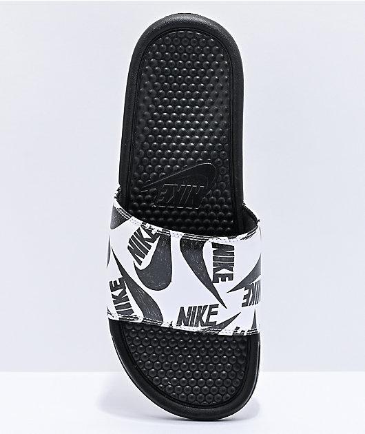 Nike Benassi JDI Black & White Slide Sandals