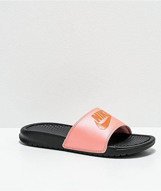 Nike Benassi JDI Pink, Orange \u0026 White