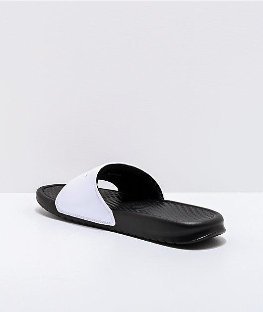 Nike Benassi White & Black Slide Sandals