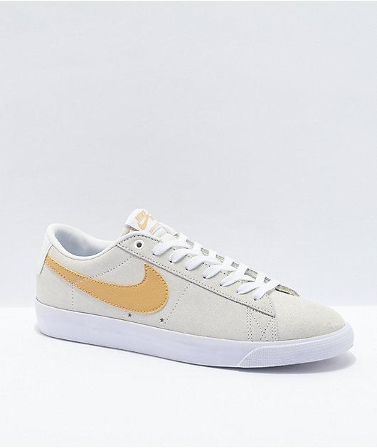 Nike Blazer Low GT White & Gold Skate Shoes
