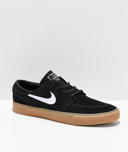 Nike Janoski RM SE Black & Gum Suede Skate Shoes