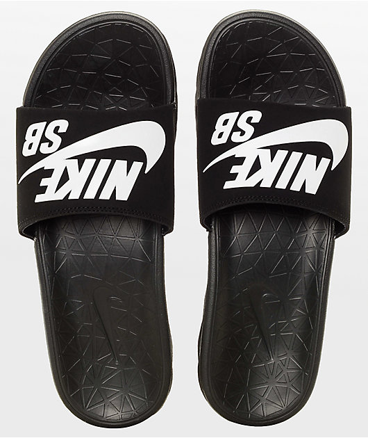 Nike SB Benassi SolarSoft Black & White Slides