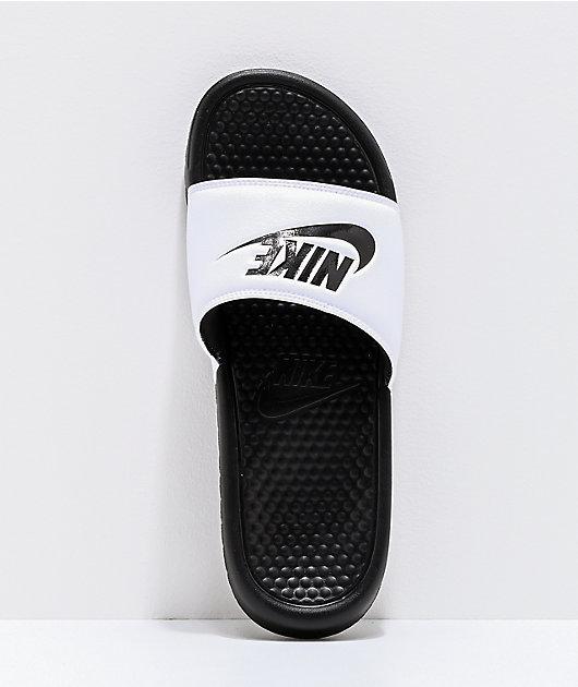 empujar Soportar Frotar  Nike SB Benassi sandalias blancas y negras | Zumiez