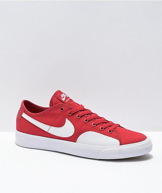 Nike SB Blazer Court Red & White Skate Shoes