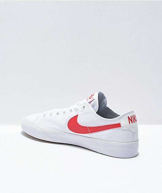 Nike SB Blazer Court White & Red Skate Shoes
