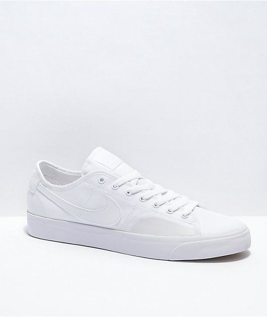 Nike SB Blazer Court White & White Skate Shoes