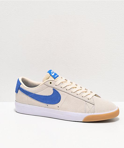 Nike SB Blazer Low G.T. Ivory, Blue & Gum Skate Shoes