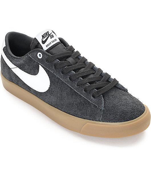 Nike SB Blazer Low GT Black & Gum Suede Skate Shoes