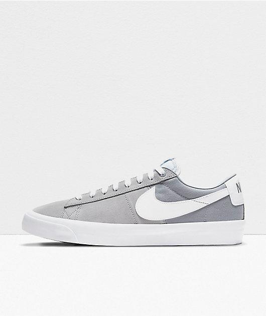 Nike SB Blazer Low GT Wolf Grey & White Skate Shoes