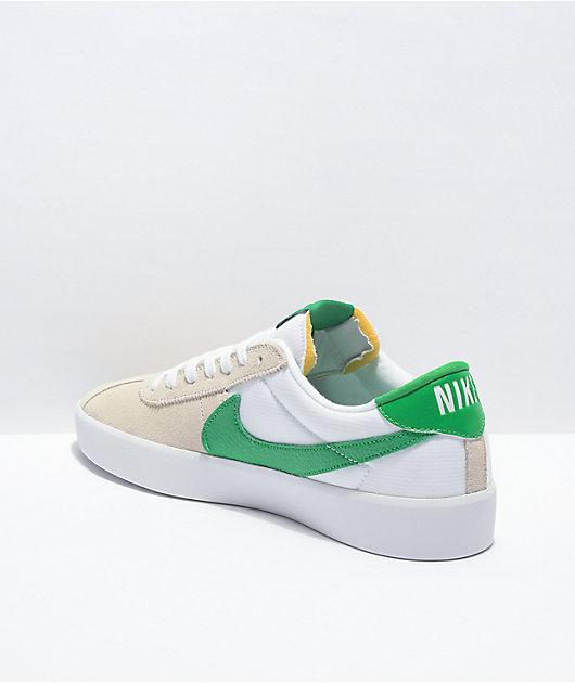 Nike SB Bruin React White & Lucky Green Skate Shoes