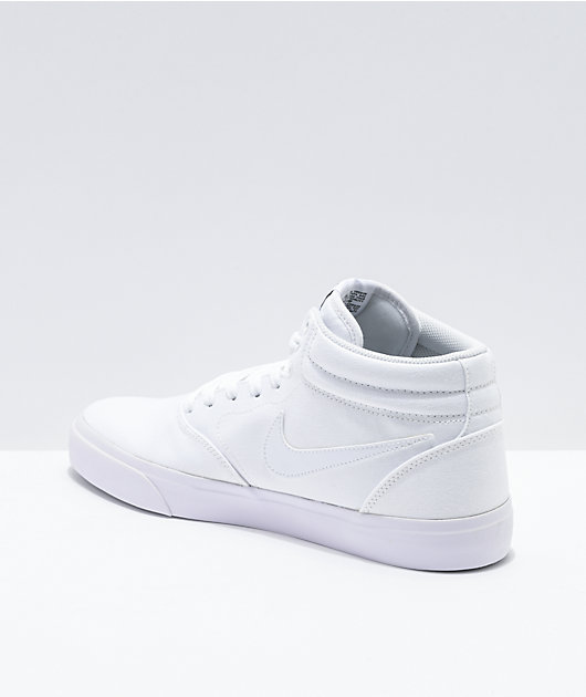 Nike SB Charge Mid All White Skate Shoes