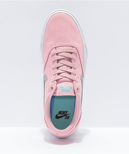 Nike SB Charge Pink & Silver Canvas Skate Shoes