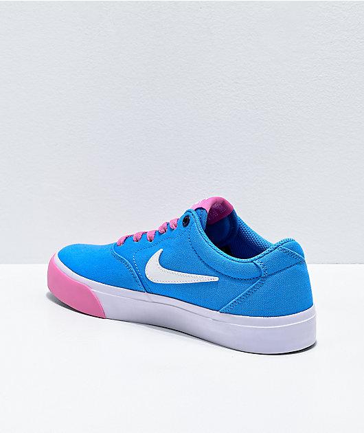 Nike SB Charge University Blue, Magic Flamingo Pink & White Skate Shoes