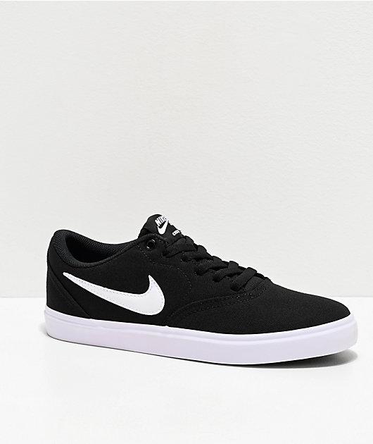 azafata total Necesario  Nike SB Check Solarsoft Black & White Canvas Skate Shoes | Zumiez
