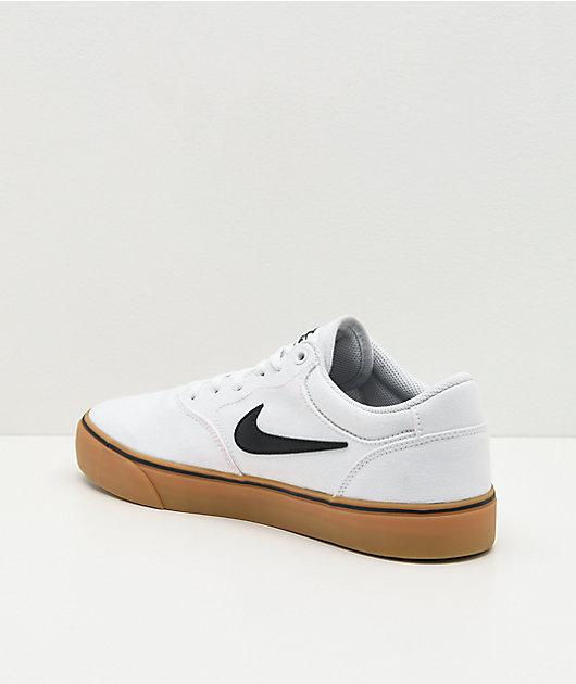 Nike SB Chron 2 White & Gum Canvas Skate Shoes