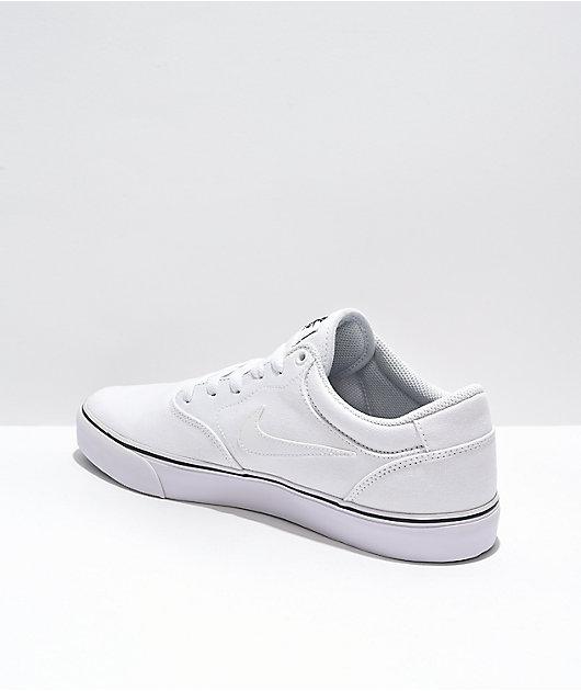 Nike SB Chron 2 White Canvas Skate Shoes