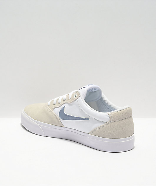 Nike SB Chron White & Grey Solarsoft Skate Shoes | Zumiez