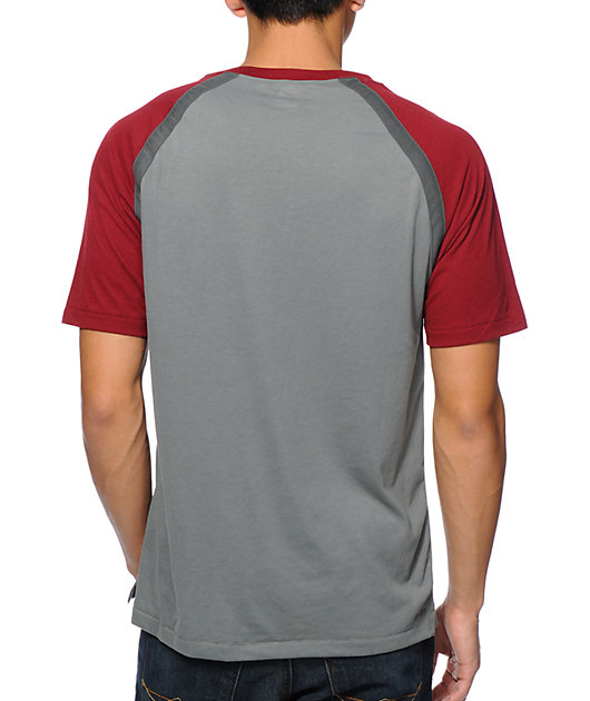 Nike SB Davis Dri-Fit Grey & Maroon Henley T-Shirt