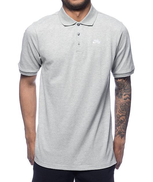 Nike SB Dri-Fit Pique Grey Polo Shirt