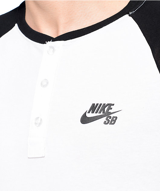 Nike SB Dri-Fit White & Black Henley Baseball T-Shirt