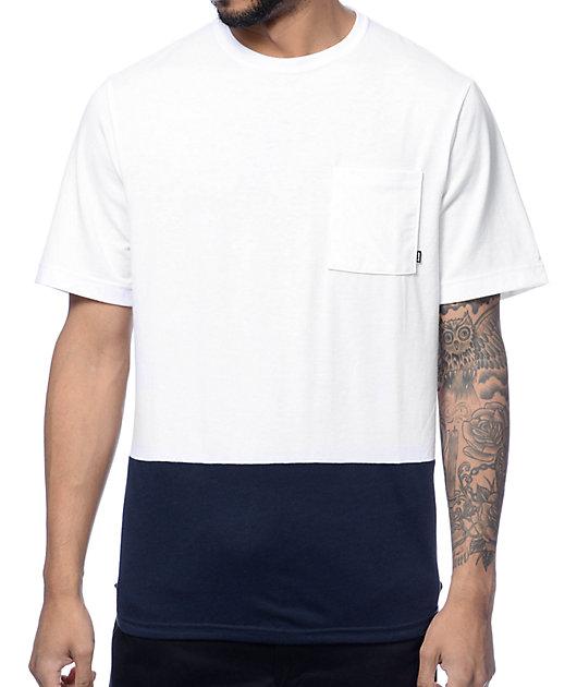 Nike SB Dri-Fit White & Navy Henley Pocket T-Shirt