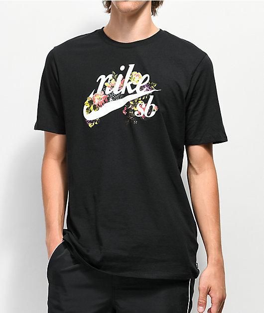 Nike SB Floral Old School Logo Black T