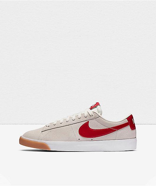 Nike SB GT Blazer Low Sail, Red & Gum Skate Shoes