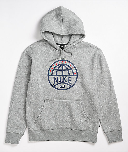 Nike SB Graphic Heather Grey & Navy Hoodie