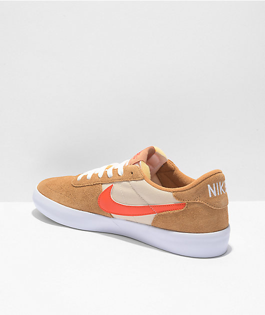 Nike SB Heritage Vulc Flax & Orange Skate Shoes