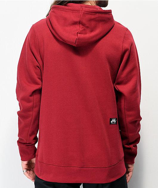 Nike SB Icon Burgundy & Black Hoodie