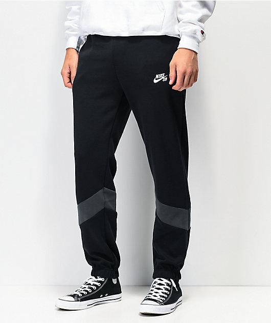 hoy Sin lugar a dudas luto  Nike SB Icon Dry pantalones de chándal de polar negro y gris | Zumiez