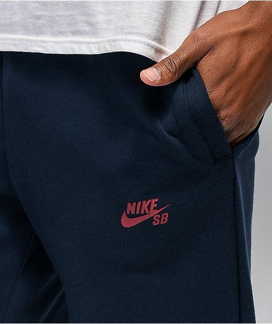 Nike SB Icon Fleece Navy & Maroon Track Pants