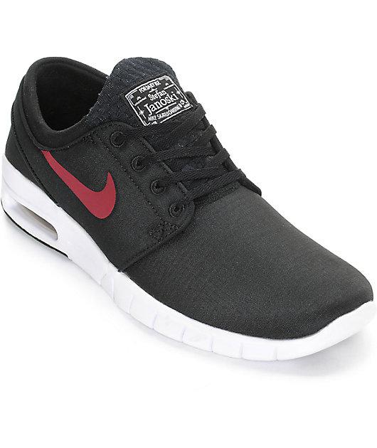 Nike SB Janoski Air Max Black, Team Red, & White Shoes